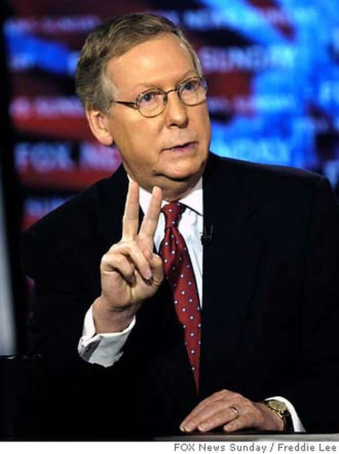 "In this photo provided by FOX News, Senate Minority Leader, Mitch McConnell, R-Ky., appears on ""Fox News Sunday"" in Washington, Sunday, Jan. 7, 2007. (AP Photo/FOX News Sunday, Freddie Lee) MANDATORY CREDIT: FREDDIE LEE, FOX NEWS SUNDAY Photo: FREDDIE LEE"