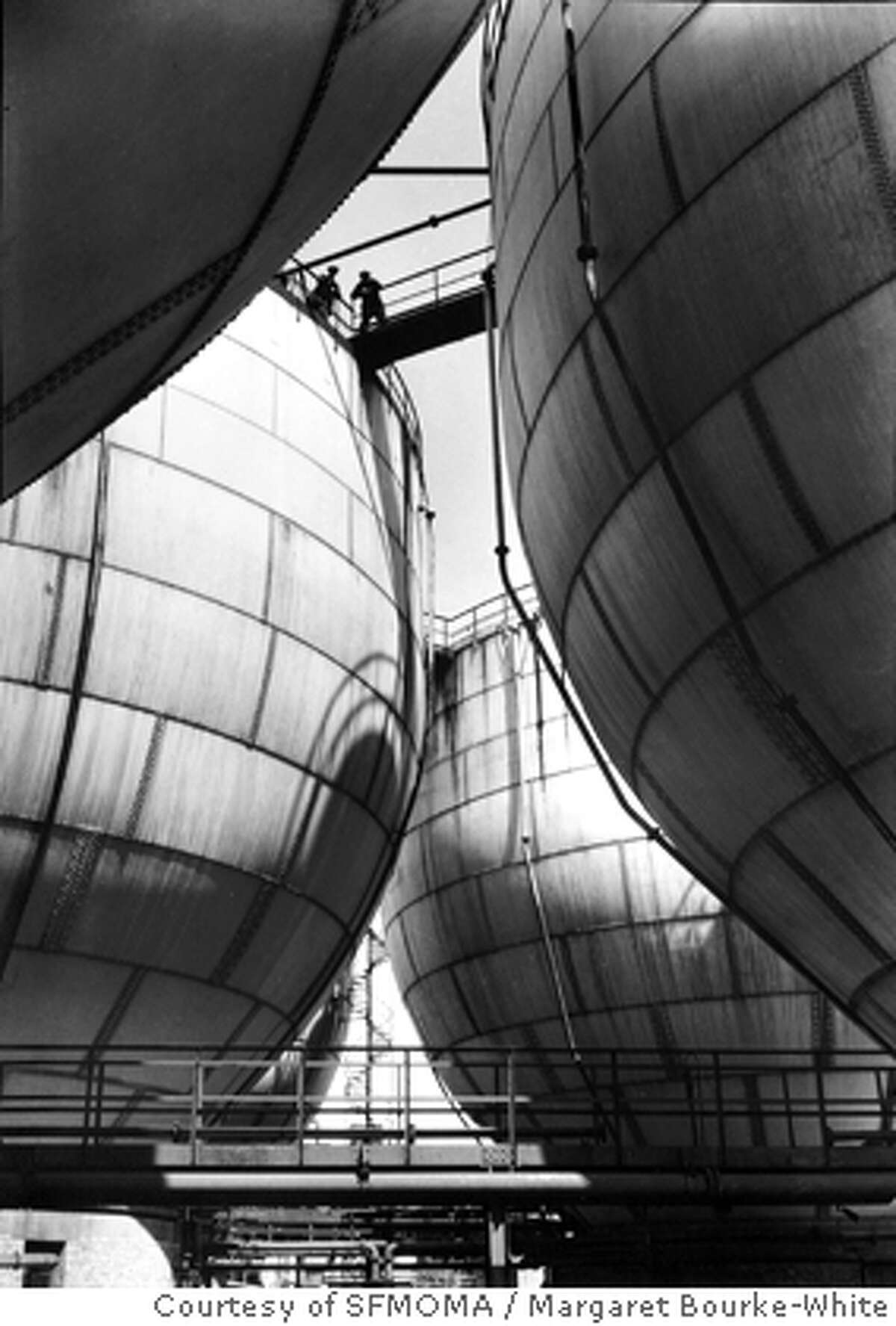Margaret Bourke-White, Ammonia Storage Tanks, I. G. Farben, 1930; Promised gift of Prentice and Paul Sack to the Prentice and Paul Sack Photographic Trust; � Estate of Margaret Bourke-White. Courtesy of SFMOMA