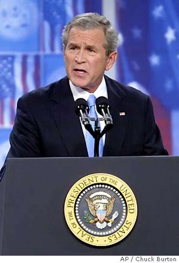 President Bush addresses troops during a visit to Fort Bragg, N.C. Tuesday June 28, 2005, on the one year anniversary of Iraq's revived sovereignty.(AP Photo/Chuck Burton) Photo: CHUCK BURTON