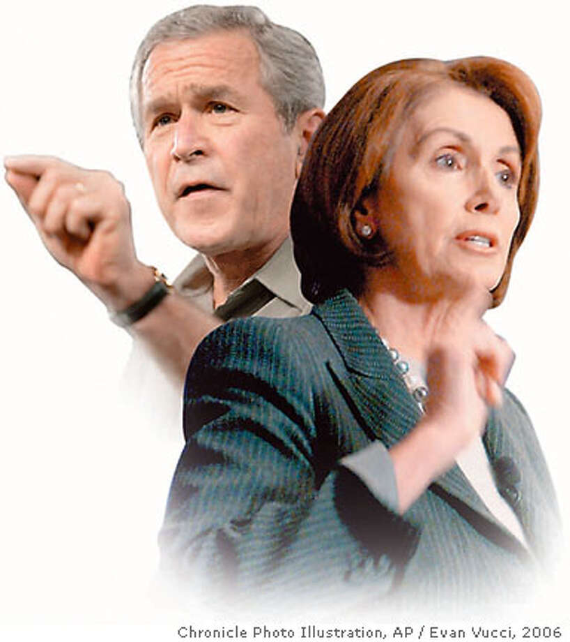President Bush's plan to send 20,000 more troops and $1 billion in additional aid to Iraq could face opposition from new House Speaker Nancy Pelosi and Democrats in Congress. Associated Press file photos, 2006, by Evan Vucci. Chronicle Photo Illustration