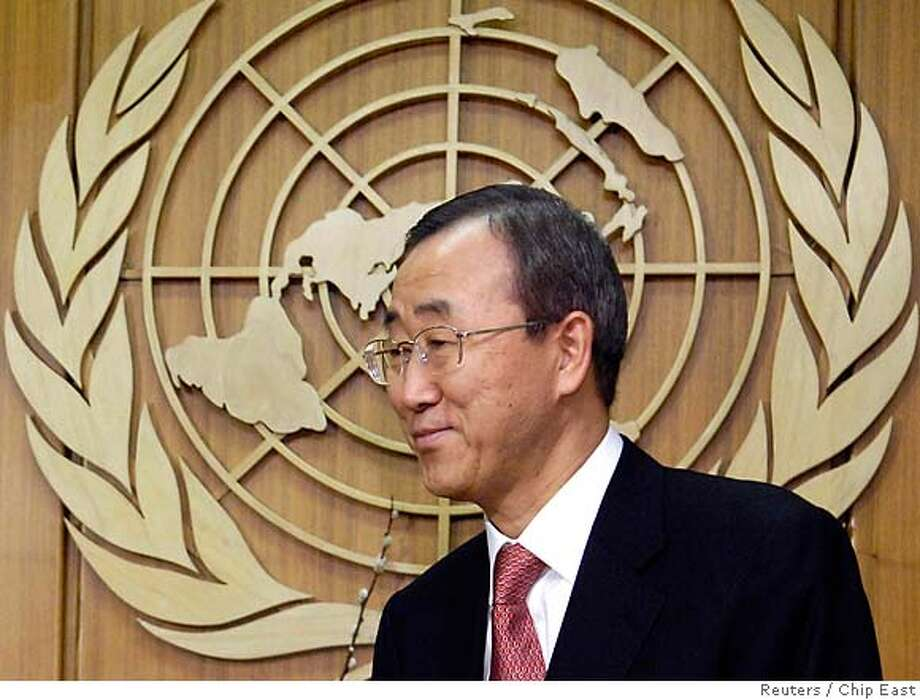 New U.N. Secretary-General Ban Ki-Moon waits to greet Russian Ambassador to the U.N. Vitaly Churkin at the United Nations headquarters in New York January 2, 2007. REUTERS/Chip East (UNITED STATES) 0 Photo: CHIP EAST