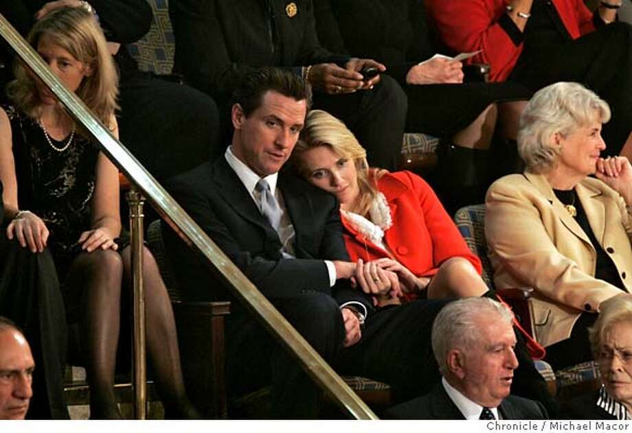 pelosi4_130_mac.jpg Mayor Gavin Newsom and girlfriend Jennifer Siebel watch the ceremony from the balcony above the hOuse floor. The 110th Congress opening day ceremonies as Nancy Pelosi is officially voted into office as Speaker of the House today. Event in, Washington, DC, on 1/4/07. Photo by: Michael Macor/ San Francisco Chronicle Mandatory credit for Photographer and San Francisco Chronicle / Magazines Out Photo: Michael Macor
