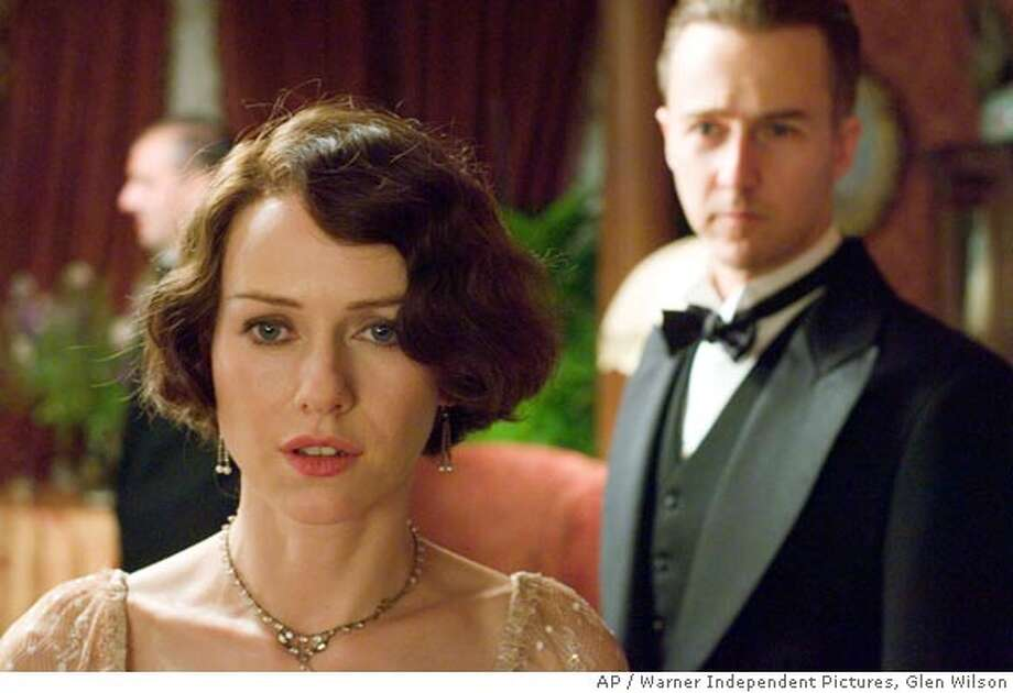 """In this photo provided by Warner Independent Pictures, Kitty Fane (Naomi Watts) becomes dissatisfied with her marriage, as her husband Walter Fane ( Edward Norton) favors of his research over time with her in """"The Painted Veil."""" (AP Photo/Warner Independent Pictures/ Glen Wilson) Photo: GLEN WILSON"""