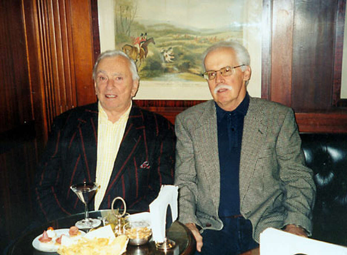 Michael Mewshaw, right, poses with Gore Vidal, one of many authors he writes about, in a snapshot taken by Mewshaw's wife in Italy last year.