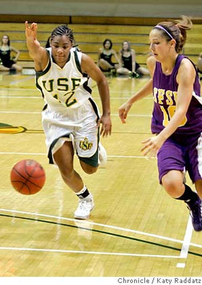 USF_WOMEN_BASKETBALL_073_RAD.jpg  SHOWN: USF #12 Dominique Carter against SFSU in exhibition. These pictures made on Wednesday, Nov. 1, 2006, in San Francisco, CA. (Katy Raddatz/San Francisco Chronicle)  ** Dominique Carter Credit photographer and SF Chronicle. ; Mags Out Photo: Katy Raddatz
