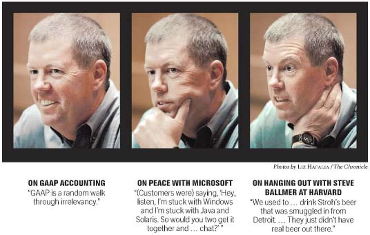 Scott McNealy, Sun CEO, on GAAP accounting and relations with Microsoft. Chronicle photos by Liz Hafalia