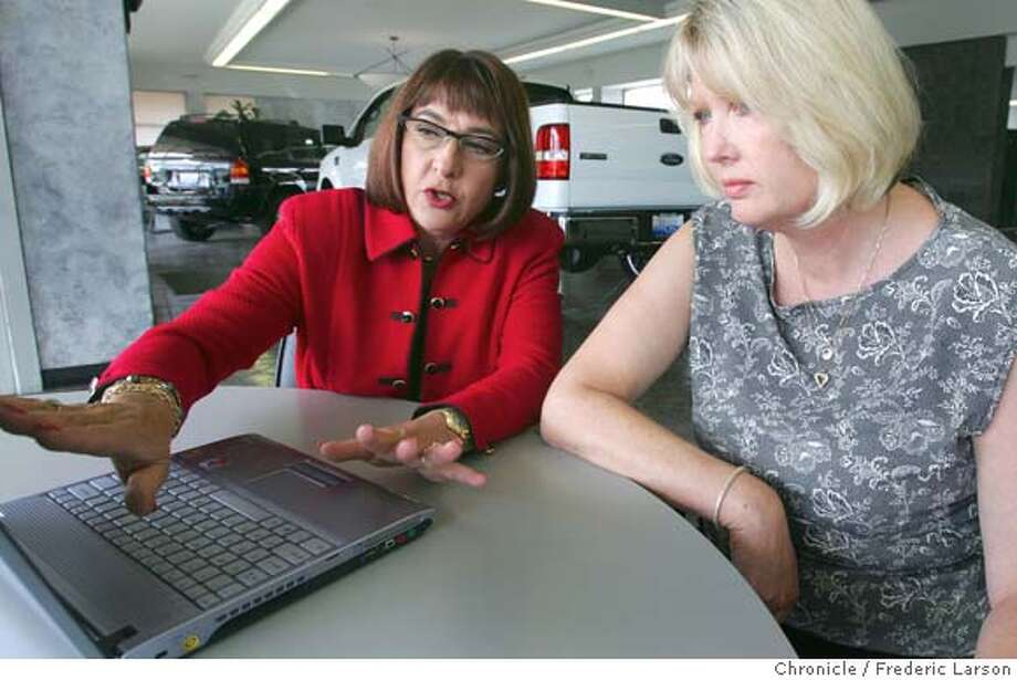 CARS064_fl.jpg Paula Tompkins discusses online auto sales with Susan Romano (right) the Business Manager of Marin FORD San Rafael at her show room in San Rafael. Since 1995 Paula Tompkins CEO of ChannelNet, a 125 employees company out of Mill Valley and Detroit, has coordinated Ford Motor Co.�s online sales operation. According to industry analyst J.D. Power and Associates, 64 percent of car buyers researched their purchase online. Of people who have Internet connections, the figure is 89 percent. Car companies have figured out that the rush of consumers to the Web represents an unstoppable force, and instead of resisting it, for the most part, they�re starting to improve their Web sites and take control of the process. 6/18/05 San Rafael CA Frederic Larson The San Francisco Chronicle Photo: Frederic Larson