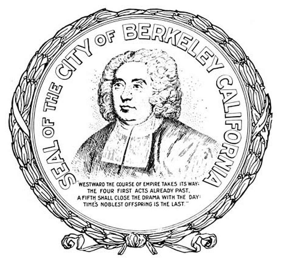 """HANDOUT:  The official Berkeley city seal with a head-and-shoulders portrait of Bishop Berkeley and the """"empire"""" line inscribed below. Photo: HO"""