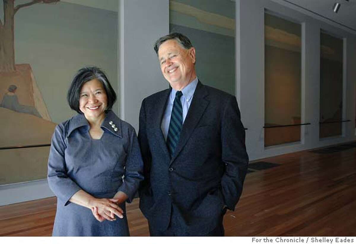 PIAZZONI 012se.JPG On 6/20/05 in San Francisco Emily Sano, Director of the Asian Art Museum and Harry S. Parker III, Director of Fine Arts Museums of San Francisco stand in front of the refinished and restored Piazzoni Murals that they helped move from the old San Francisco Library (now the new Asian Art Museum) to the new De Young Museum in Golden Gate Park. Chronicle Photo by Shelley Eades