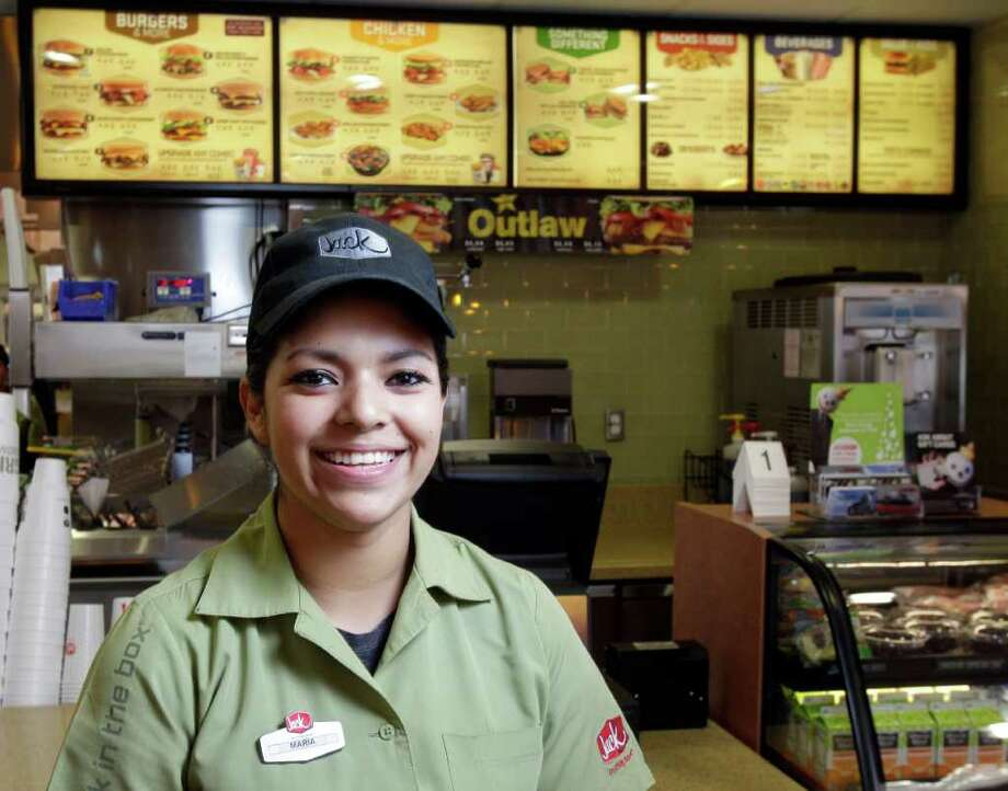 "Maria Lara was hired at a Jack in the Box. She says she was ""nice to everybody. And I came 30 minutes early to the interview."" Photo: Melissa Phillip / © 2011 Houston Chronicle"