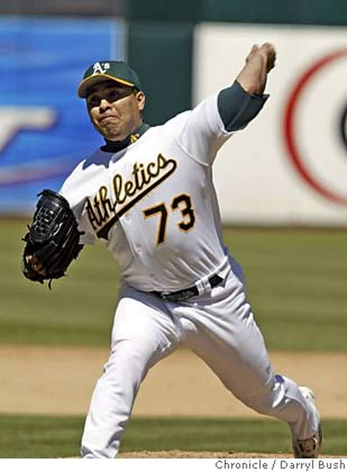 athletics_351_db.jpg  Oakland Athletics Ricardo Rincon throws some relief innings vs. Baltimore Orioles at Oakland. 8/26/04 in Oakland  Darryl Bush / The Chronicle MANDATORY CREDIT FOR PHOTOG AND SF CHRONICLE/ -MAGS OUT Photo: Darryl Bush