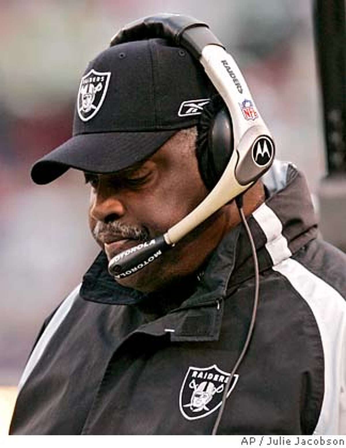 ** FILE ** Oakland Raiders coach Art Shell paces the sidelines in this file photo from an NFL football game against the New York Jets Sunday, Dec. 31, 2006, in East Rutherford, N.J. Shell's first season is now complete and the only direction the Raiders went was down. Oakland (2-14) set franchise records for losses and offensive ineptitude, while throwing in a good dose of turmoil and dissension in a season that was by far the worst in Al Davis' 44 years with the team. (AP Photo/Julie Jacobson) DEC. 31, 2006 FILE PHOTO EFE OUT
