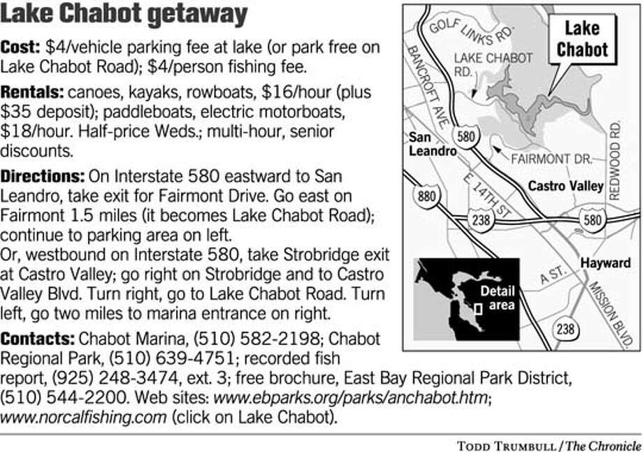Lake Chabot Getaway. Chronicle graphic by Todd Trumbull