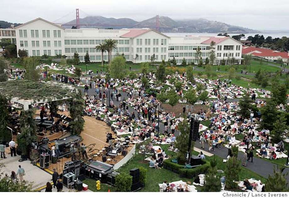 #2_389.jpg_  A picnic for 3,ooo plus a concert by Joan Baez, Bonnie Raitt, Boz Scaggs, Beach Blanket Babylon, etc. celebrates the opening of George Lucas' Letterman Digital Arts Center in the Presidio. By Lance Iversen/San Francisco Chronicle Photo: Lance Iversen