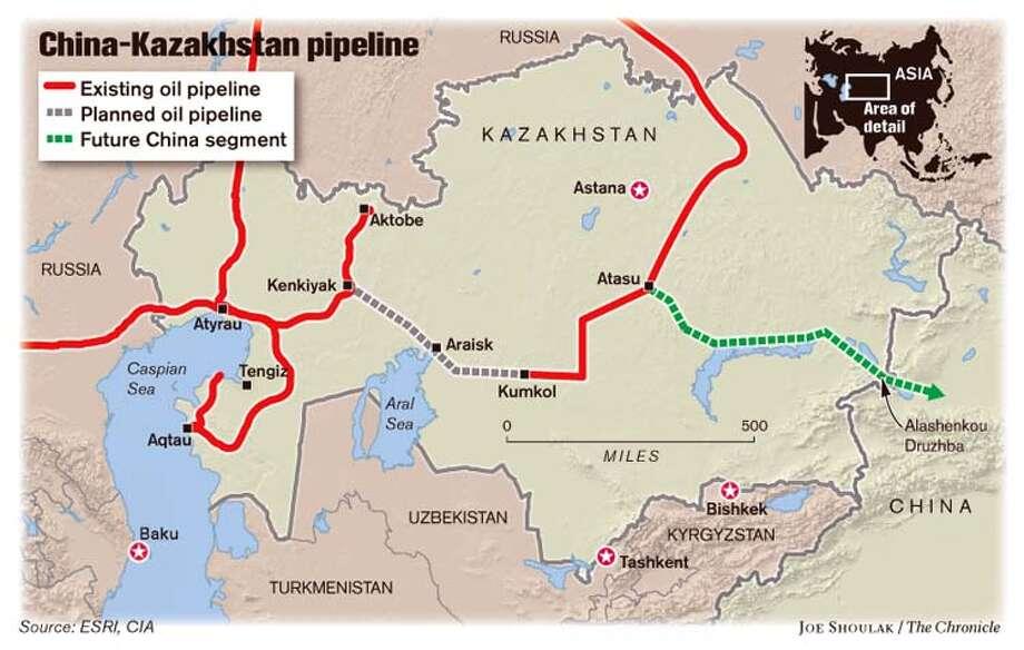 China-Kazakhstan Pipeline. Chronicle graphic by Joe Shoulak