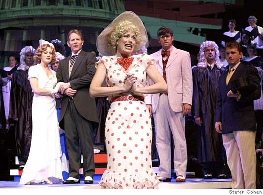 L-R: Lisa Vroman, Stephen Bogardus, Marin Mazzie, Mo Rocca and Jason Danieley in the San Francisco Symphony performance of Gershwin's, Of Thee I Sing and Let 'Em Eat Cake. Photo Credit: Stefan Cohen Datebook#Datebook#Chronicle#6/25/2005#ALL#5star##0423047987 Photo: Stefan Cohen