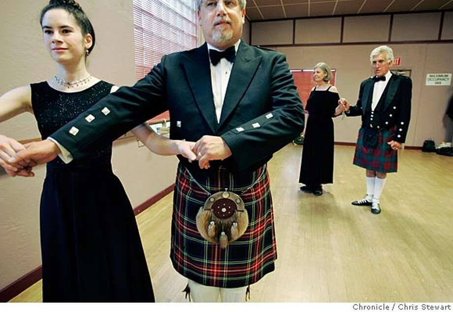 Event on 6/9/05 in Walnut Creek. Members of the Royal Scottish Country Dance Society San Francisco Branch rehearse jigs and reels and other Scottish dance steps at the Diablo Light Opera Company, 1948 Oak Park Boulevard in Walnut Creek. The dance troupe is celebrating its 40th anniversary with a ball in Oakland. For info: contact Lori Howard, director of troupe. Phone: 925-934-1928. Email: fireknight1@aol.com. Website: www.rscds-sf.org  Chris Stewart / The Chronicle Photo: Chris Stewart