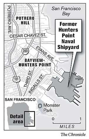 Former Hunters Point Naval Shipyard. Chronicle Graphic