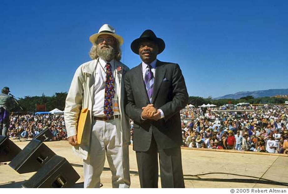 Chet Helms- Sixties Family Dog impresario with then San Francisco Mayor Willie Brown at the 30th Avviversary of the Summer of Love, San Francisco. October 12, 1997 Photo credit: � 2005 Robert Altman Photo: Photo- Robert Altman