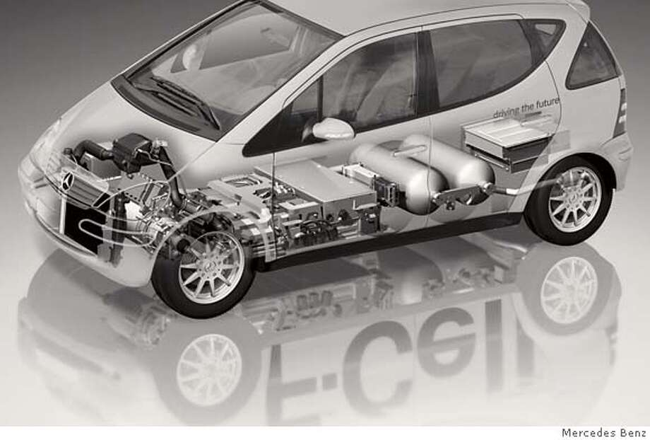 "Mercedes_Fuel_Cell.jpg  Diagram shows a Mercedes-Benz ""F-Cell"" car. It's a fuel cell-powered car based on the Mercedes A-Class gas-powered car that is sold in Europe but not the U.S. DaimlerChrysler, parent company of Mercedes-Benz, built 60 of these F-Cell cars, of which 28 are in California, 5 in Michigan and the rest spread out around the globe. Currently, they are being used as test cars in fleets belonging to government agencies, utilities and some non-profits. In California, they can refuel at 23 hydrogen stations, of which 16 are in southern California and seven in northern California.  Photo by Mercedes Benz  Photo taken on 12/28/06, in San Francisco, Ca, USA.  **All names cq (source) MANDATORY CREDIT FOR PHOTOG AND SAN FRANCISCO CHRONICLE/ -MAGS OUT Photo: Handout"