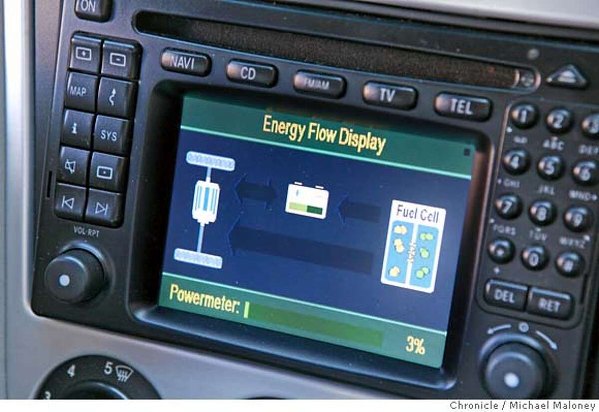 The dashboard energy flow display shows the driver the status of the fuel cells. Mercedes-Benz has designed fuel cell (hydrogen) powered cars - about a dozen that Mercedes has loaned to fleets in California. This one to PG&E. Photo by Michael Maloney / San Francisco Chronicle MANDATORY CREDIT FOR PHOTOG AND SF CHRONICLE/ -MAGS OUT