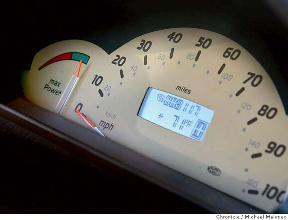 Close up of the driver's display. Mercedes-Benz has designed fuel cell (hydrogen) powered cars - about a dozen that Mercedes has loaned to fleets in California. This one to PG&E. Photo by Michael Maloney / San Francisco Chronicle MANDATORY CREDIT FOR PHOTOG AND SF CHRONICLE/ -MAGS OUT
