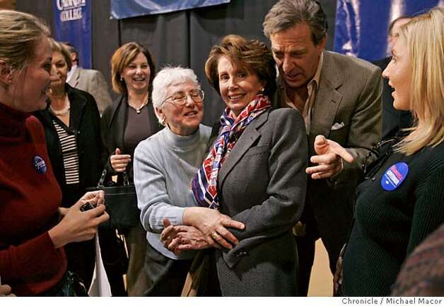"pelosi_246_mac.jpg Paul Pelosi leans into his wife Nancy as she poses for photographs with supporters a week before the November elections. Democratic Leader, Congresswoman Nancy Pelosi, D. San Francisco, makes a trip across the Southeastern section of Pennsylvania, on a ""Get Out The Vote"" campaign, stumping for local Democratic candidates. Event in, , Pa, on 11/4/06. Photo by: Michael Macor/ San Francisco Chronicle Mandatory credit for Photographer and San Francisco Chronicle / Magazines Out Photo: Michael Macor"