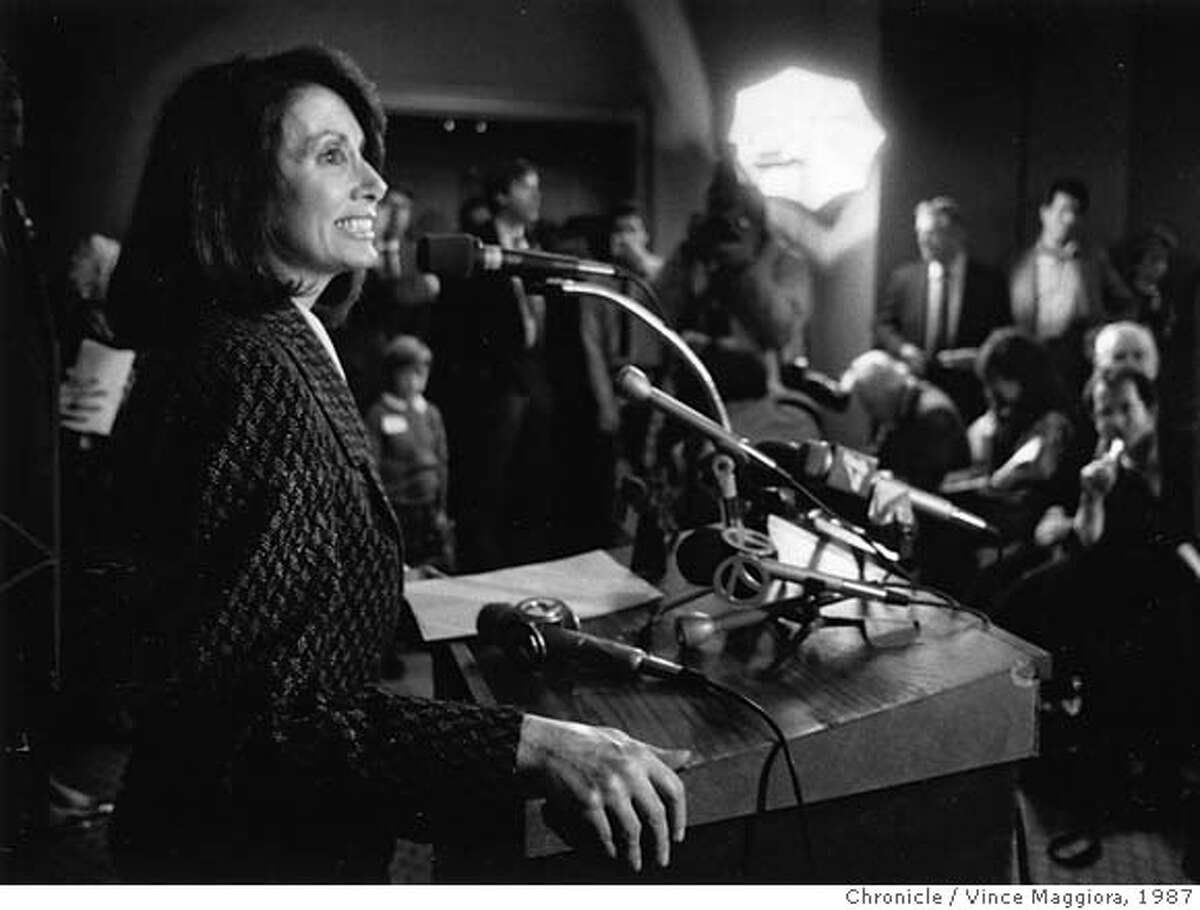 pelosi02_PH1 Nancy Pelosi announces her candidacy for U.S. Congress in San Francisco on Feb. 12, 1987. MANDATORY CREDIT FOR PHOTOG AND SF CHRONICLE/ -MAGS OUT