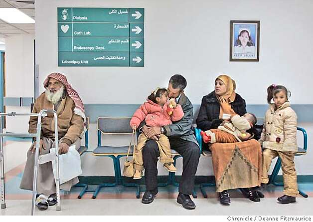 Hadia waits with her children and her brother-in-law Kareem at Al Khalidi Medical Center in Amman, Jordan where they will get medical checkups before being granted visas to the United States. Hadia Khanfoosh and her children flee Iraq and come to America to join her son, Saleh, and her husband, Raheem after being apart for over a year. Through an international medical intervention, Saleh Khalaf, 10, on the brink of death after a bomb explosion, was brought from Iraq to Oakland Children's Hospital along with his father, Raheem in November 2003. They were granted political asylum when it became unsafe for them to return to Iraq. Deanne Fitzmaurice / The Chronicle Photo: Deanne Fitzmaurice