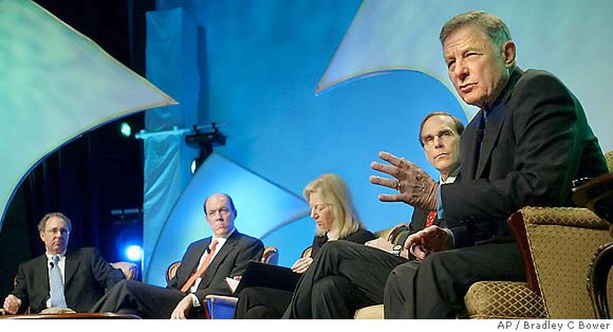 SPECIAL TO THE SAN FRANCISCO CHRONICLE--U.S. Senator Birch Bayh, right, speaks at the opening seminar of the BIO 2005 convention Monday, June, 20, 2005 in Philadelphia. Fellow panelist with Senator Bayh are from left, Roger M. Perlmutter, Executive Vice President, Research and Development, Amgen, James C. Mullen, CEO Biogen Idec, Inc., Amy Gutman President The University of Pennsylvania, Donald L. Drakeman, President, CEO & Director Medarex, Inc. (AP Photo/Bradley C Bower) SPECIAL TO THE SAN FRANCISCO CHRONICLE