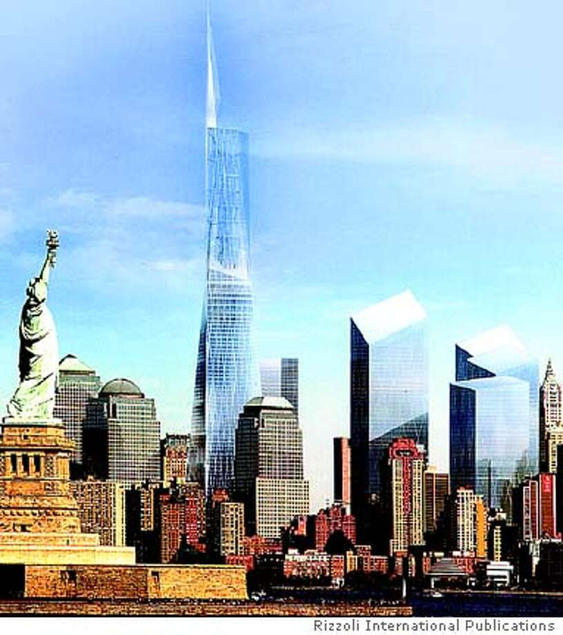"The Freedom Tower proposed by David Childs of Skidmore, Owings & Merrill, with Daniel Libeskind collaborating, won the contest. Photo from ""Imagining Ground Zero"""