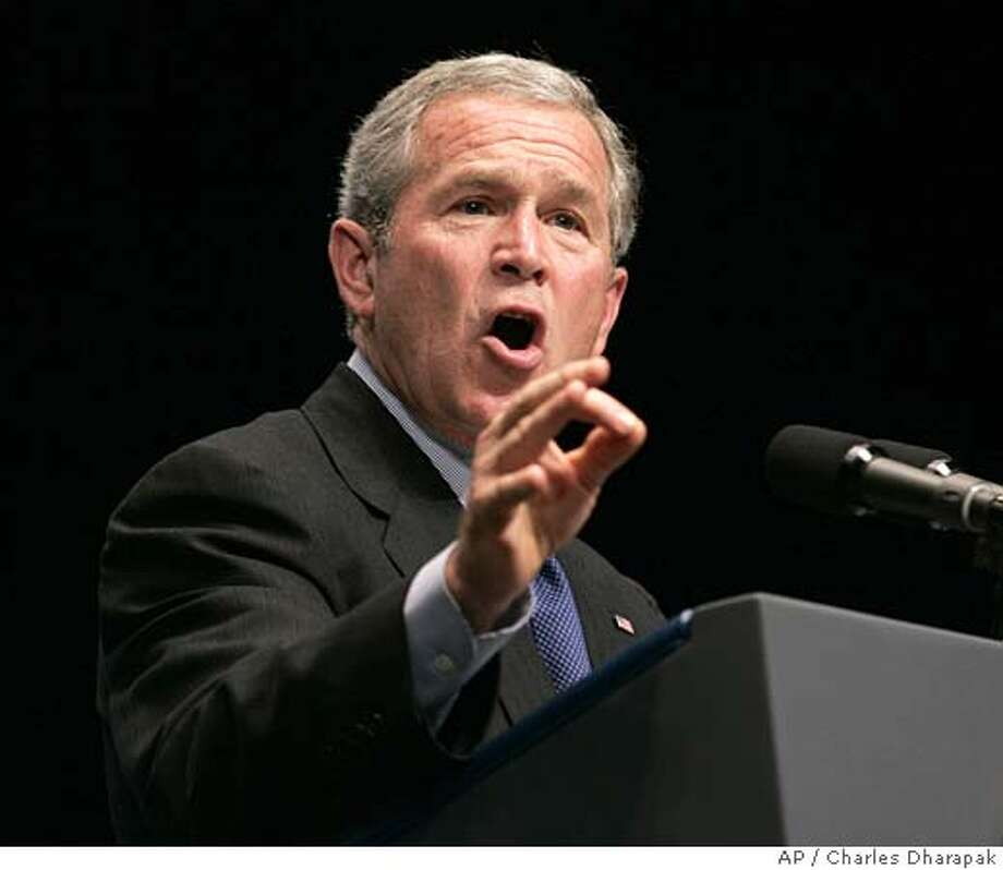 **RESENDING TO CORRECT NAME OF UNIVERSITY TO PENN STATE** President Bush speaks about Social Security reform at the Pennsylvania FFA Convention at the Penn State University Campus in University Park, Pa., Tuesday, June 14, 2005. (AP Photo/Charles Dharapak) RESENDING TO CORRECT NAME OF UNIVERSITY TO PENN STATE Photo: CHARLES DHARAPAK