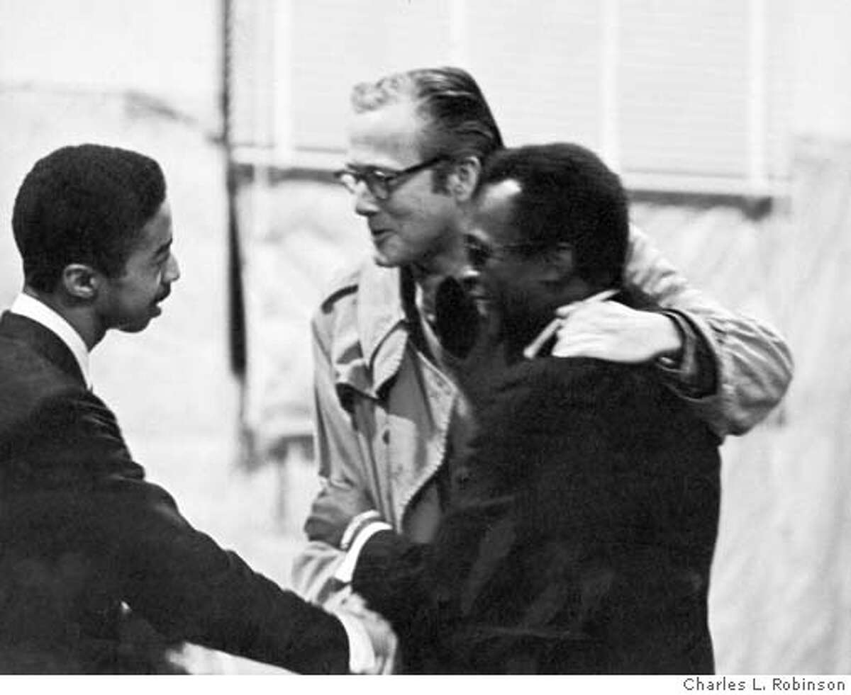 GLEASON.jpg Ralph J. Gleason, Chronicle jazz critic 1950-1975 with Miles Davis (right) and unknown. Photograph by Charles L. Robinson ONE TIME USE ONLY.