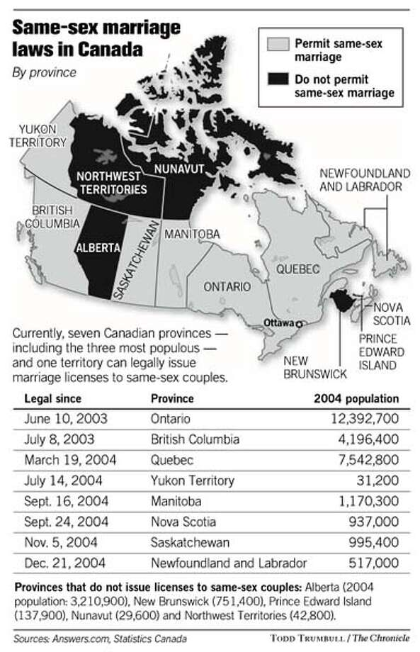 Same-sex marriage laws in Canada. Chronicle graphic by Todd Trumbull