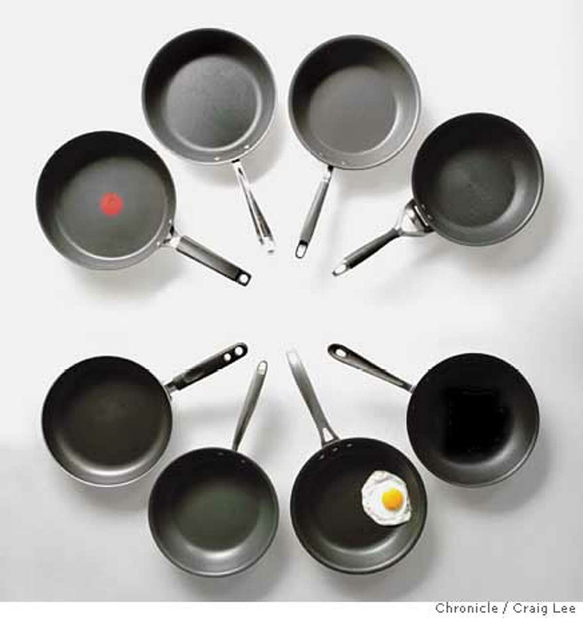 The Chronicle tested eight 10-inch nonstick pans in various price ranges. Chronicle photo by Craig Lee