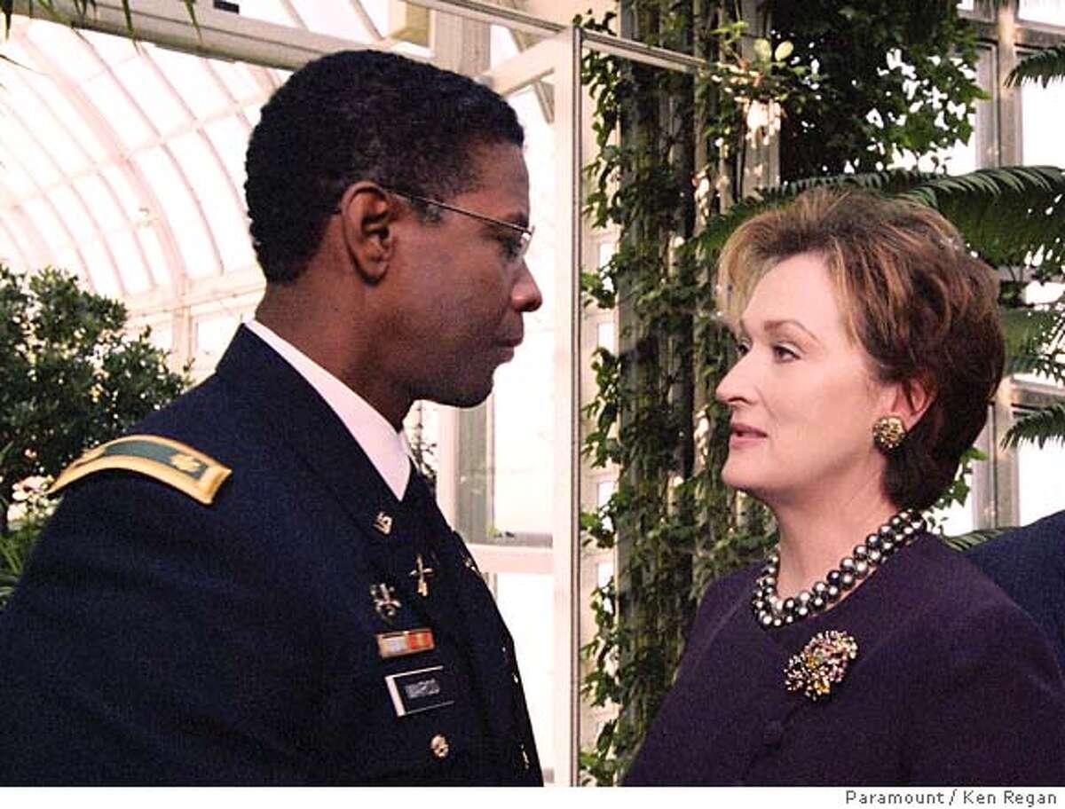 "(Left to right) Denzel Washington as Major Ben Marco and Meryl Streep as Senator Eleanor Shaw in ""Manchurian Candidate."" (Paramount/Ken Regan) . ALSO Ran on: 09-12-2004 Meryl Streep in Manchurian: major masterpiece. Ran on: 09-12-2004"