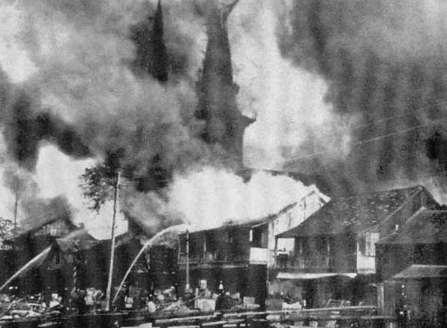 "a fire started to sanitize Honolulu of the plague, then spread out of control throughout Chinatown in 1900 it was started in the shack behind the kaumakapili church from the book ""plague and fire batteling black death and the 1900 burning of Honolulu;'s chinatown."