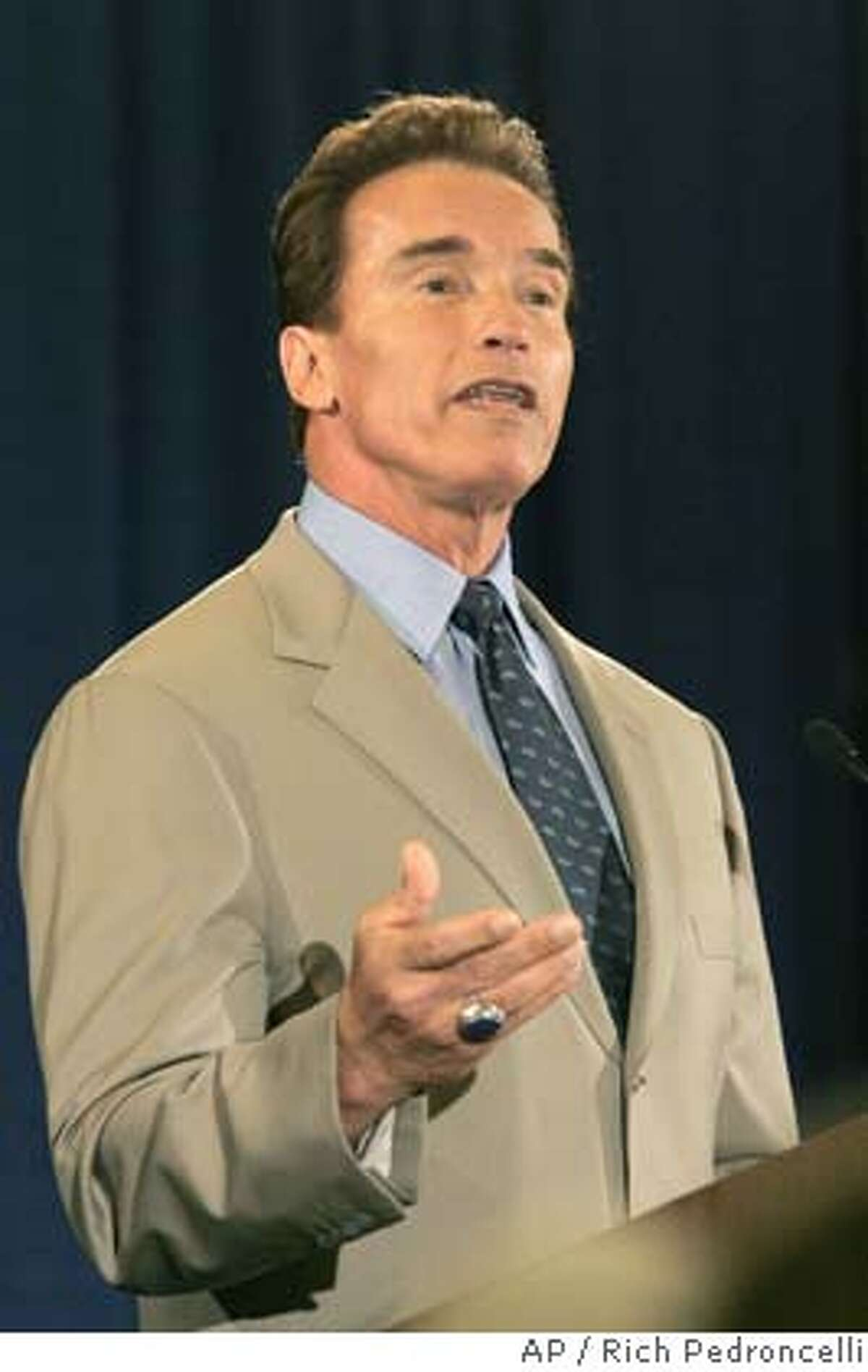 Gov. Arnold Schwarzenegger announces that he wants to restore $1.3 billion in funding to transporation, while speaking before the League of California Cities, in Sacramento, Calif., Wednesday, May 11, 2005. Saying the Calfornia economy has improved significantly in recent months, Schwarzenegger said he would be able to reverse plans made in January to transfer gas tax money to pay for other programs.(AP Photo/Rich Pedroncelli) Ran on: 05-29-2005 Schwarz- enegger Ran on: 05-29-2005 Schwarz- enegger