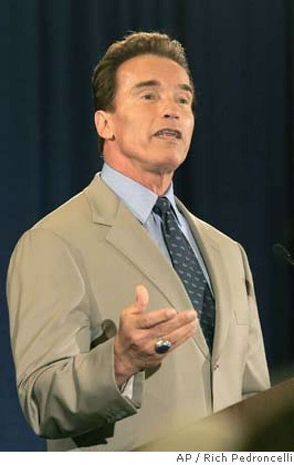Gov. Arnold Schwarzenegger announces that he wants to restore $1.3 billion in funding to transporation, while speaking before the League of California Cities, in Sacramento, Calif., Wednesday, May 11, 2005. Saying the Calfornia economy has improved significantly in recent months, Schwarzenegger said he would be able to reverse plans made in January to transfer gas tax money to pay for other programs.(AP Photo/Rich Pedroncelli) Ran on: 05-29-2005  Schwarz- enegger Ran on: 05-29-2005  Schwarz- enegger Photo: RICH PEDRONCELLI