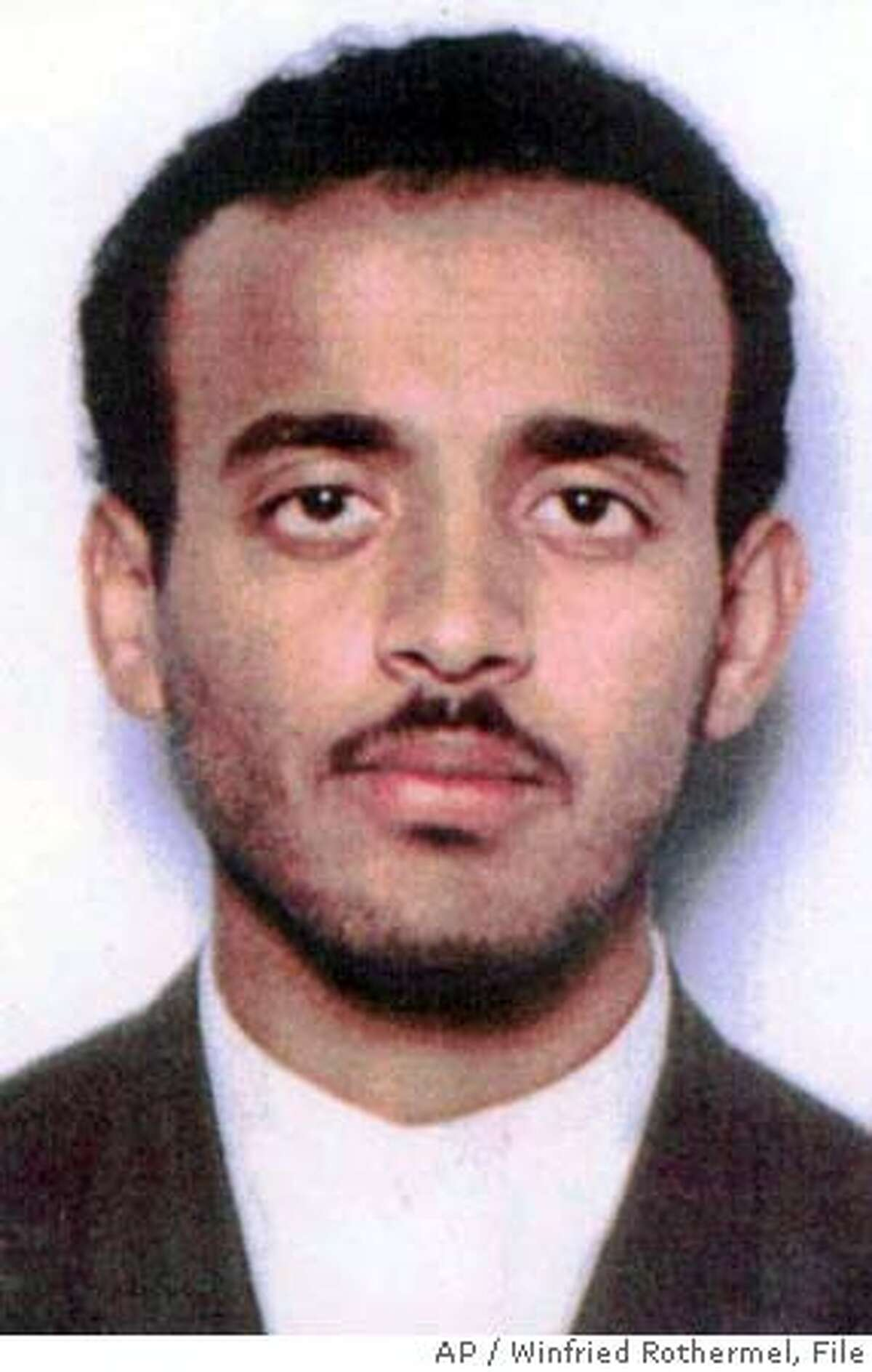 ** FILE ** Ramzi Binalshibh, a Yemeni national, is seen in this undated handout photo. Alleged Sept. 11 planner Binalshibh and four other al-Qaida suspects were handed over to the United States on Monday, Sept. 16, 2002, state-run television said. From restaurants to shopping malls to their secret apartment meeting place, key Sept. 11 plotters moved around Malaysia's largest city in comfortable obscurity. The al-Qaida members were photographed during their visit in January 2000 by security officials atvarious places in and around the gleaming capital, but it was their Malaysian and Indonesian hosts who were the targets of the surveillance, officials say. (AP Photo/Winfried Rothermel) ALSO RAN 11/20/02, 06/27/03 CAT ###3/5/2004##5star#a4#