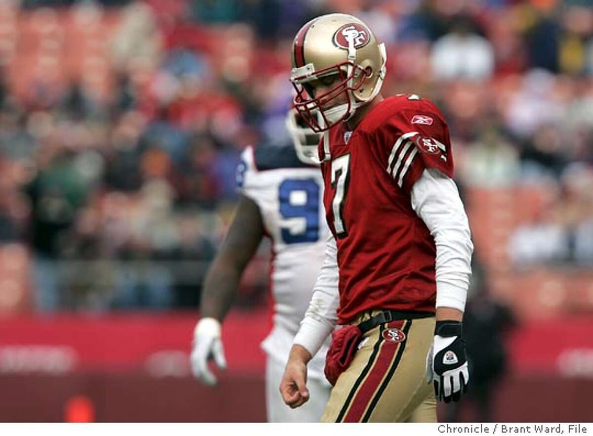 Ken Dorsey walked off the field dejected after being intercepted in the third quarter. The 49ers lost their final home game of the season, 41-7 against the Buffalo Bills at Monster Park Sunday Brant Ward 12/27/04