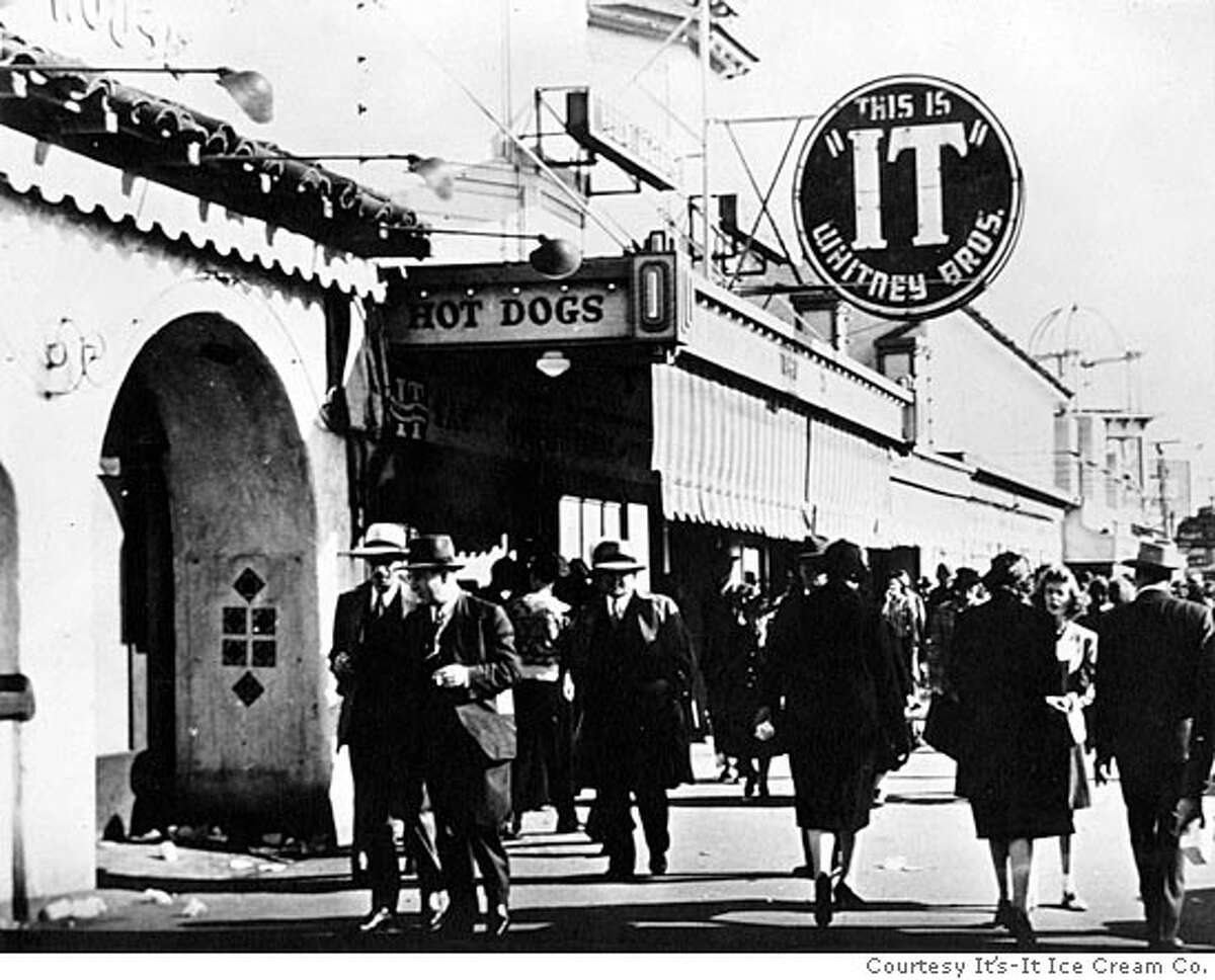 It's-It sign at pie shop at Playland-At-The-Beach, where the original ice cream sandwich of the company was sold.