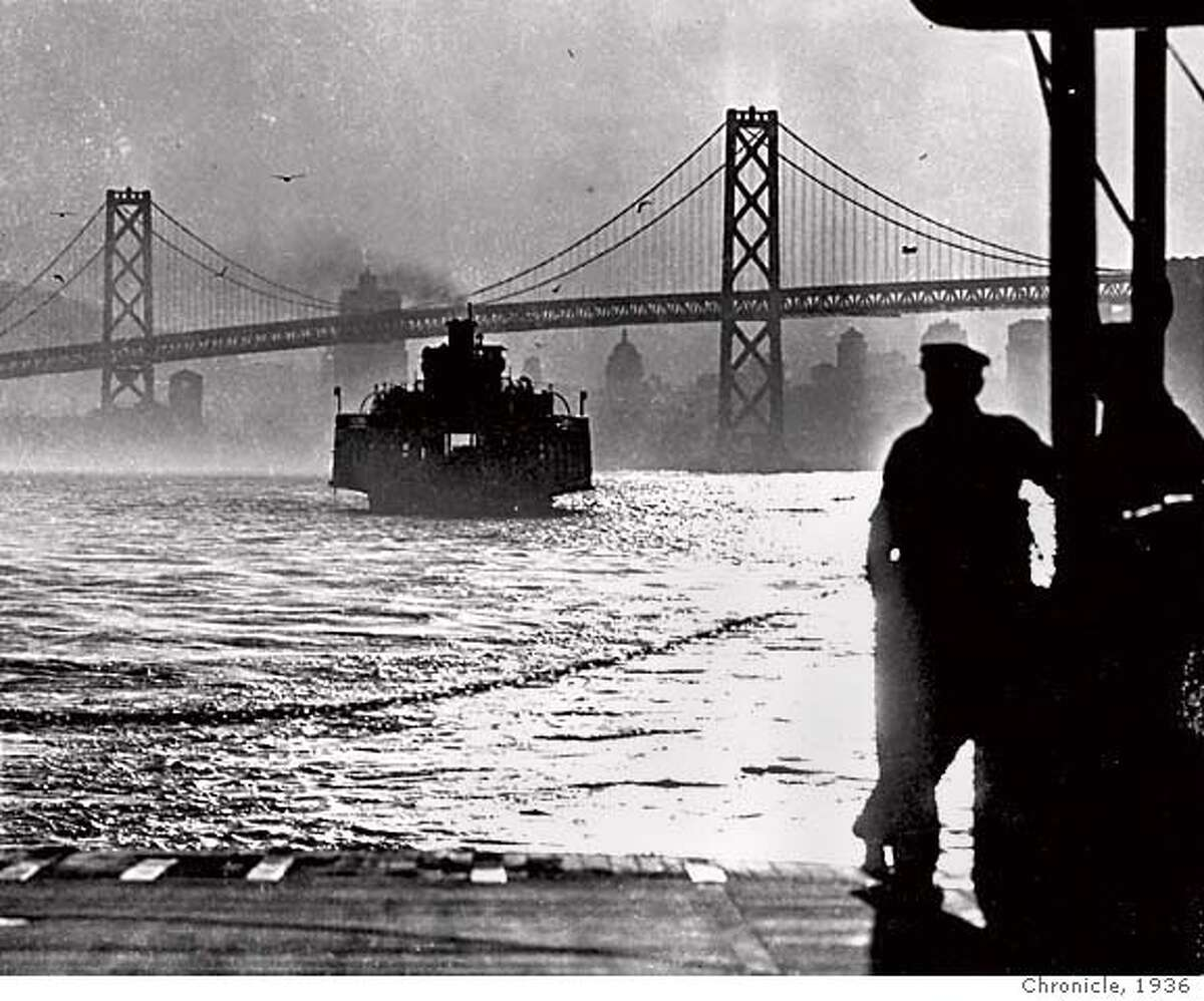 The San Francisco-Oakland auto ferry on the eve of the opening of the Bay Bridge, 1936.