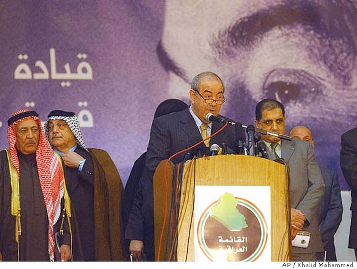 """Iraq's interim Prime Minister Ayad Allawi speaks during a news conference in Baghdad Wednesday Dec. 15, 2004. Allawi joined the race for Iraq's Jan. 30 elections and pledged to work for national unity and move away from """"religious and ethnic fanaticism."""" (AP Photo/Khalid Mohammed)"""