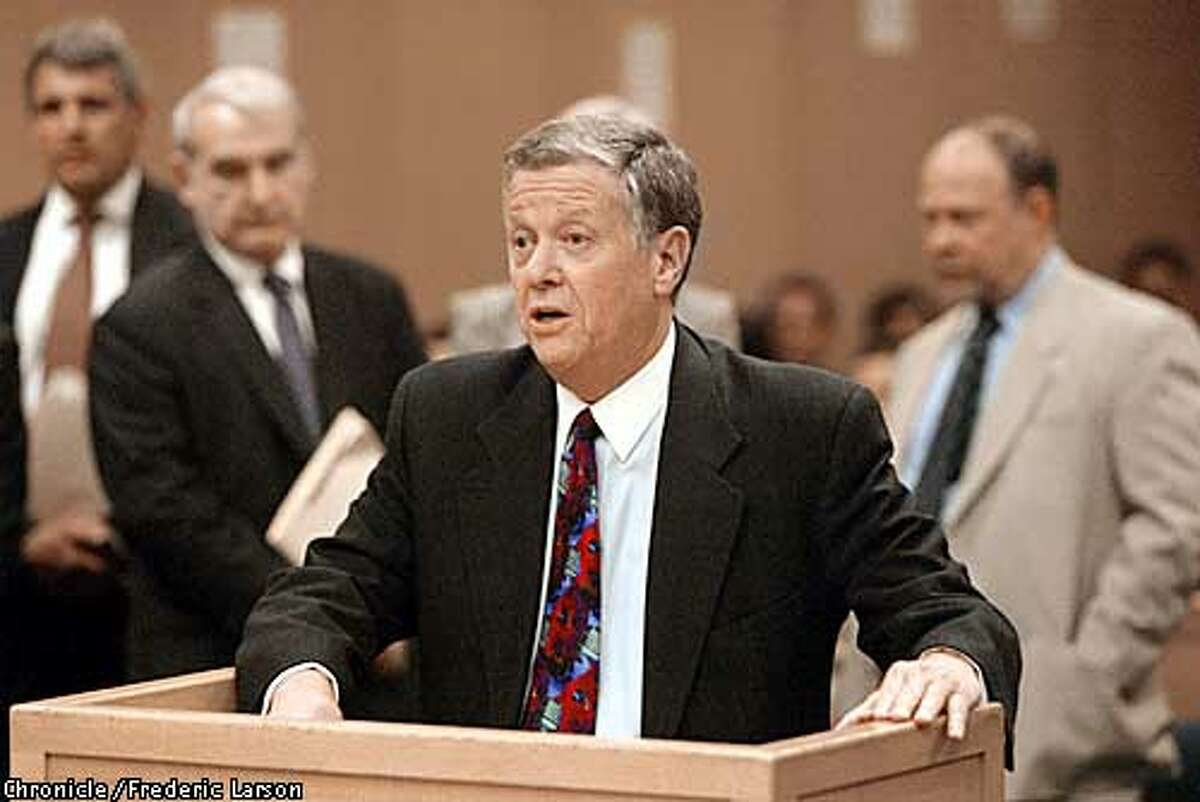 SFCOPSg-C-05MAR03-MT-FRL: Defense attorney Jim Collins for one the ten SFPD accused in the grand jury indicted Police Chief Earl Sanders, his second�in-command and other top police at SF Hall of Justices that were charged with conspiring to obstruct the investigation into an off-duty brawl involving the assistant chief�s son (Alex Fagan Jr.) and two other cops. The following ten members of the police department in Superior Court Dept., 22 under Judge (Kay) Ksenia Tsenin are Sgt. John Syne, Officer Alex Fagan Jr., Officer Matthew Tonsing, Officer David Lee, Assistant Chief Alex Fagan Sr., Deputy Chief David Robinson, Deputy Chief Greg Suhr, Capt. Greg Corrales, Chief of Police Earl Sanders and Officer Ed Cota. Chronicle photo by Frederic Larson. CHRONICLE PHOTO BY FREDERIC LARSON