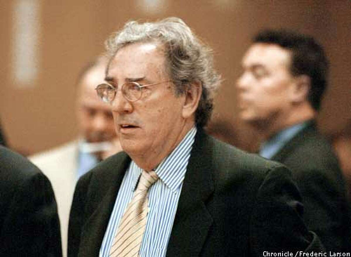SFCOPSl-C-05MAR03-MT-FRL: Defense attorney Phil Ryan for one of the ten SFPD accused in the grand jury indicted Police Chief Earl Sanders, his second�in-command and other top police at SF Hall of Justices that were charged with conspiring to obstruct the investigation into an off-duty brawl involving the assistant chief�s son (Alex Fagan Jr.) and two other cops. The following ten members of the police department in Superior Court Dept., 22 under Judge (Kay) Ksenia Tsenin are Sgt. John Syne, Officer Alex Fagan Jr., Officer Matthew Tonsing, Officer David Lee, Assistant Chief Alex Fagan Sr., Deputy Chief David Robinson, Deputy Chief Greg Suhr, Capt. Greg Corrales, Chief of Police Earl Sanders and Officer Ed Cota. Chronicle photo by Frederic Larson. CHRONICLE PHOTO BY FREDERIC LARSON