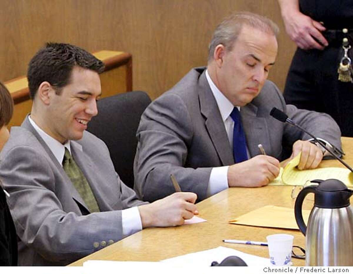Scott Peterson is seen during defense closing arguments in the penalty phase of his murder trial at the courthouse in Redwood City, Calif., Thursday, Dec. 9, 2004. Peterson was convicted of two counts of murder in the deaths of his wife and their unborn child. Seen at right is defense attorney Pat Harris. (AP Photo/Fred Larson, pool )