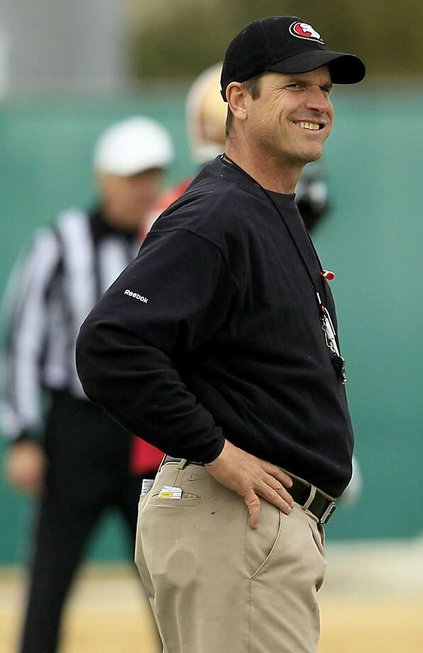San Francisco 49ers head coach Jim Harbaugh smiles during practice at an NFL football facility in Santa Clara, Calif., Thursday, Jan. 19, 2012. The 49ers are scheduled to face the New York Giants in the NFC Championship game on Sunday, Jan. 22. (AP Photo/Jeff Chiu) Photo: Jeff Chiu, Associated Press