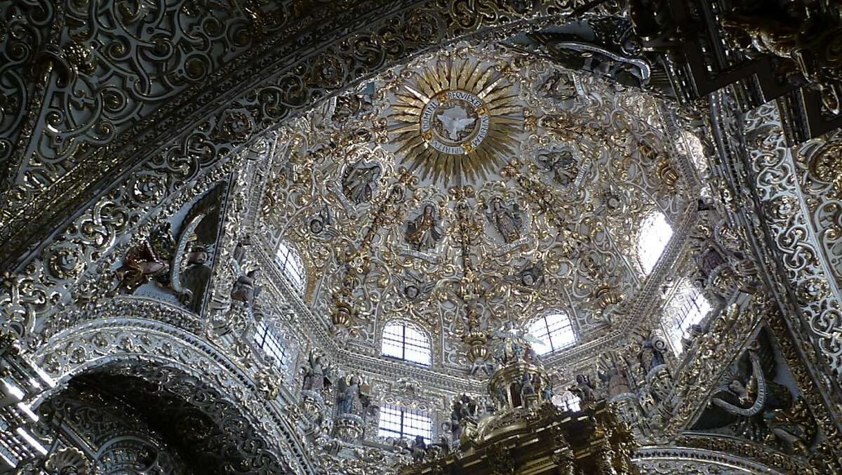 The Dome of Rosario Chapel in Puebla, Mexico