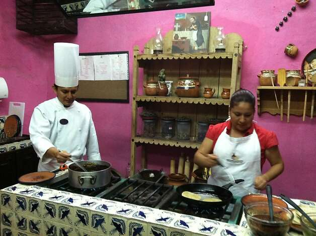The Mes n Sacrist a de la Compa  a offers cooking classes in traditional cuisine of Puebla. 6 Sur 304 Callej n de los Sapos, Centro Hist rico; 52 (222) 232-4513; www.mesones-sacristia.com. Classes: three hours $85 per person, $155 USD per couple; weeklong (15 hours) $1,500 per couple. Photo: Jill K. Robinson